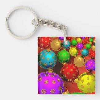 Festive Holiday Christmas Tree Ornaments Design Keychain