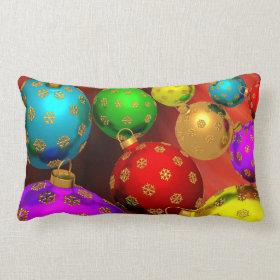 Festive Holiday Christmas Tree Ornaments Design Throw Pillows