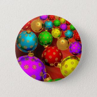 Festive Holiday Christmas Tree Ornaments Design Pinback Button
