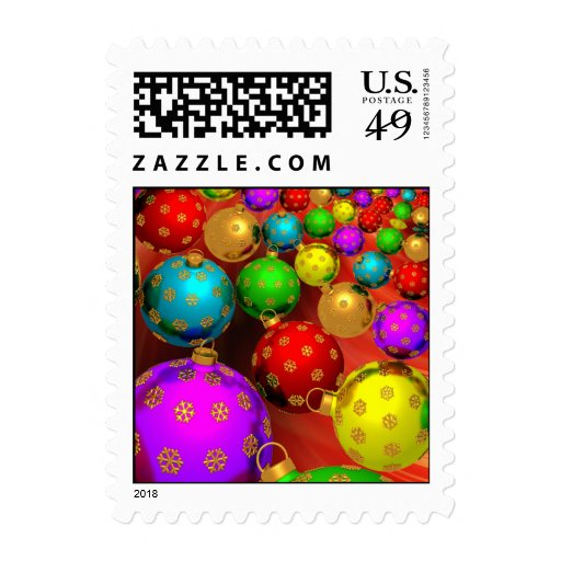 Festive Holiday Christmas Tree Ornaments Design Postage Stamps