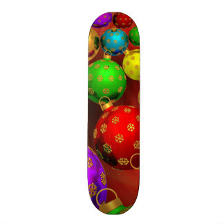 Festive Holiday Christmas Tree Ornaments Design Skateboard Deck