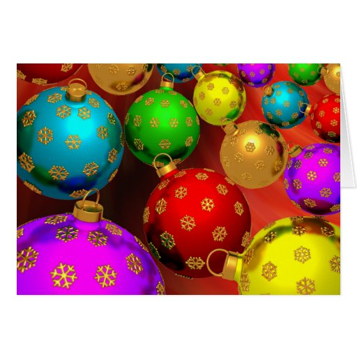Festive Holiday Christmas Tree Ornaments Design Stationery Note Card