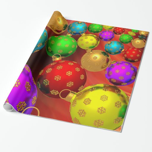 Festive Holiday Christmas Tree Ornaments Design Wrapping Paper
