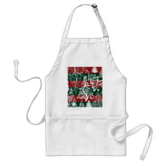 Festive Holiday Christmas Tree Red Green Striped Adult Apron