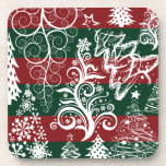 Festive Holiday Christmas Tree Red Green Striped Beverage Coasters
