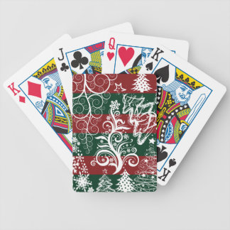Festive Holiday Christmas Tree Red Green Striped Bicycle Playing Cards