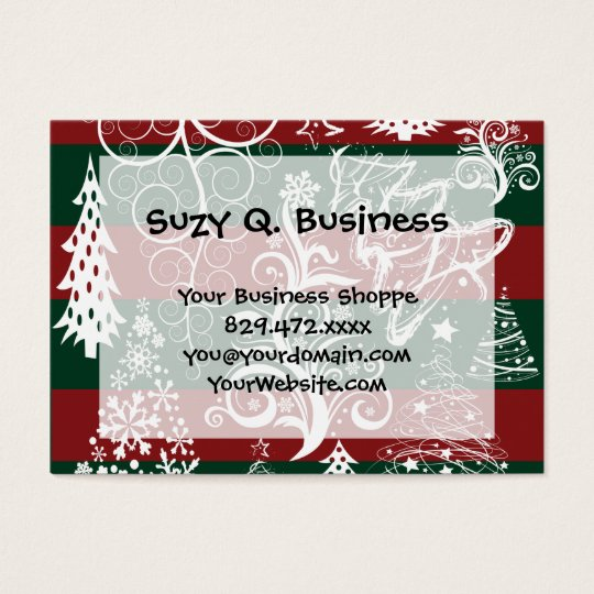 Festive Holiday Christmas Tree Red Green Striped Business Card