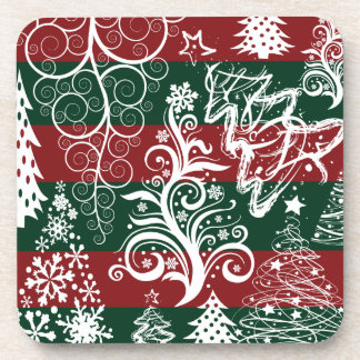 Festive Holiday Christmas Tree Red Green Striped Coaster