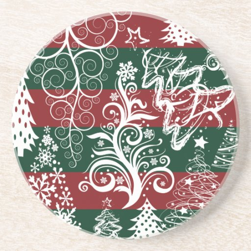 Festive Holiday Christmas Tree Red Green Striped Drink Coasters