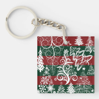 Festive Holiday Christmas Tree Red Green Striped Keychain