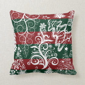 Festive Holiday Christmas Tree Red Green Striped Throw Pillow