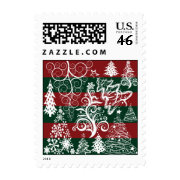 Festive Holiday Christmas Tree Red Green Striped Stamps