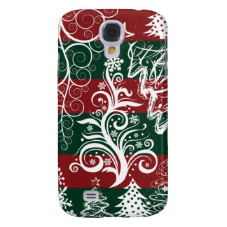 Festive Holiday Christmas Tree Red Green Striped Samsung Galaxy S4 Case