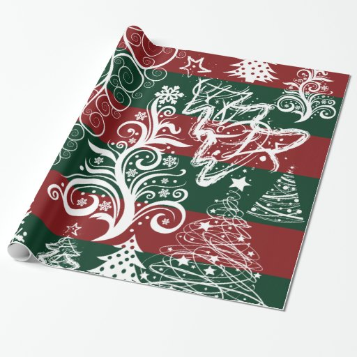 Festive Holiday Christmas Tree Red Green Striped Gift Wrap Paper