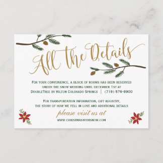 Festive Holiday Christmas Wedding Detail Card