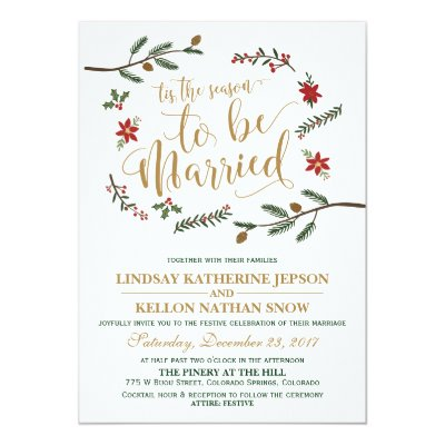 elegant christmas wedding red invitation zazzlecom