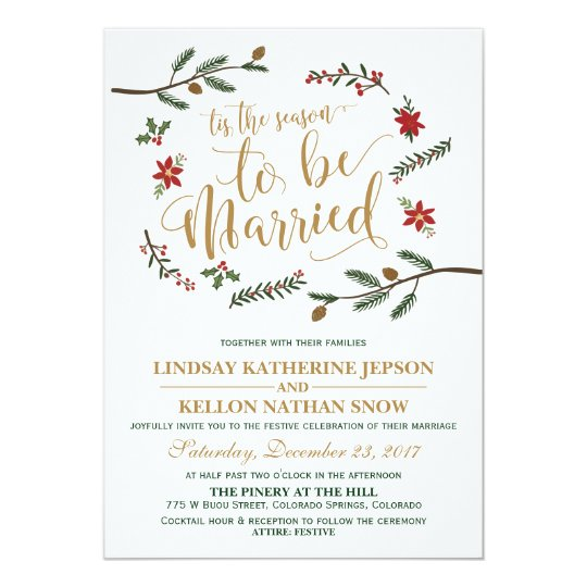Christmas Wedding Invitations.Festive Holiday Christmas Wedding Invitation