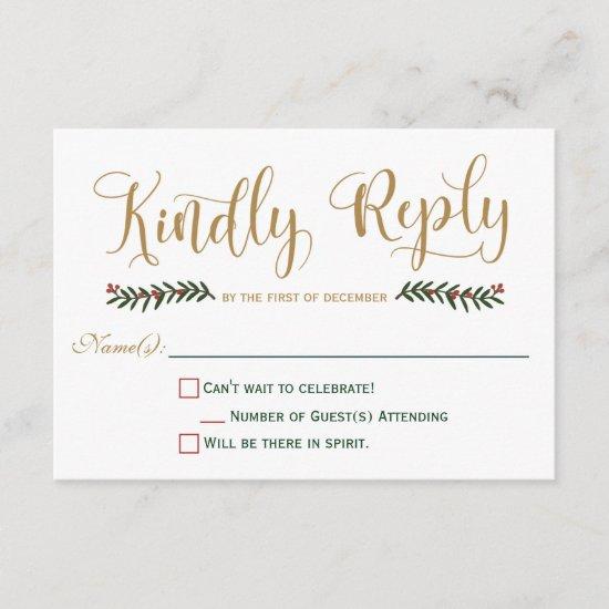 Festive Holiday Christmas Wedding Invitation RSVP