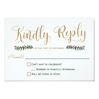 Festive Holiday Christmas Wedding Invitation RSVP