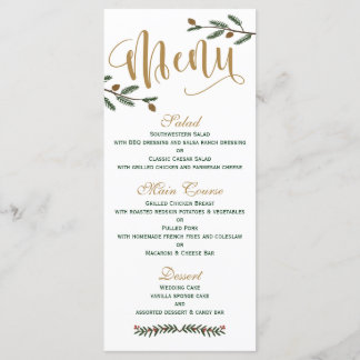 Festive Holiday Christmas Wedding Menu