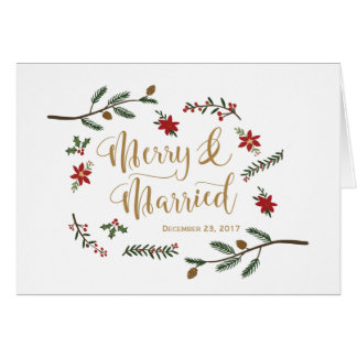 Festive Holiday Christmas Wedding Thank You Card