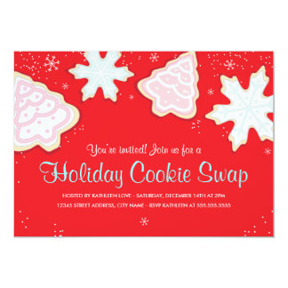 "Festive Holiday Cookie Swap Party Invitation 5"" X 7"" Invitation Card"