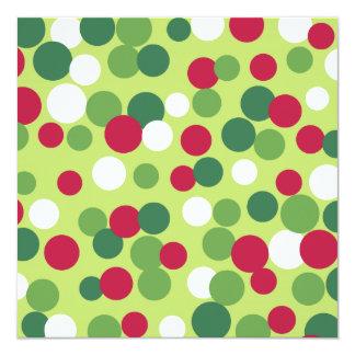 "Festive Holiday Dots Invitations 5.25"" Square Invitation Card"
