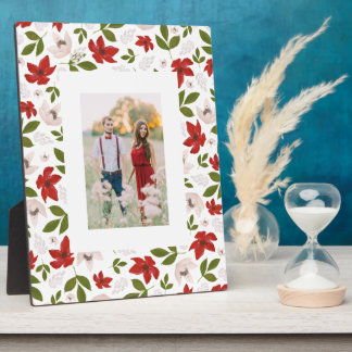 Festive Holiday Floral in White Plaque