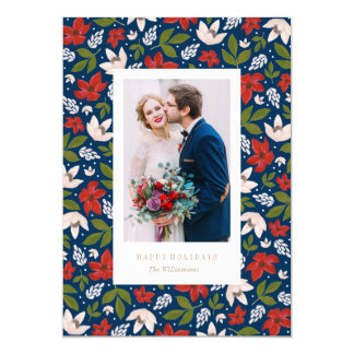 Festive Holiday Floral Photo Card