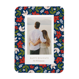 Festive Holiday Floral Rectangular Photo Magnet