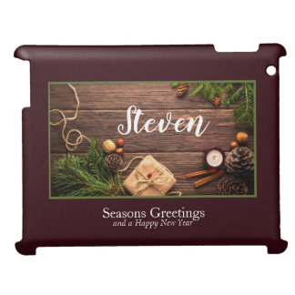 Festive Holiday Gift Photo Frame Personalize iPad Cover