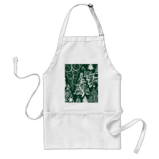 Festive Holiday Green Christmas Trees Xmas Adult Apron