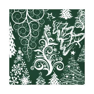 Festive Holiday Green Christmas Trees Xmas Canvas Print