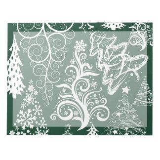 Festive Holiday Green Christmas Trees Xmas Memo Note Pad