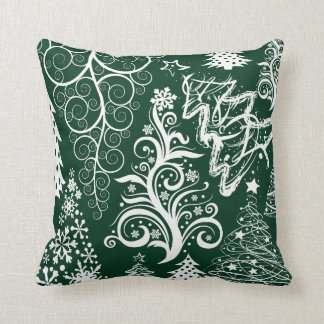 Festive Holiday Green Christmas Trees Xmas Pillow