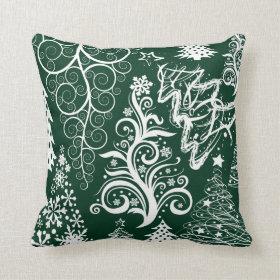 Festive Holiday Green Christmas Trees Xmas Pillow
