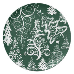 Festive Holiday Green Christmas Trees Xmas Dinner Plate