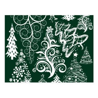 Festive Holiday Green Christmas Trees Xmas Postcard