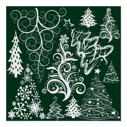 Festive Holiday Green Christmas Trees Xmas Poster