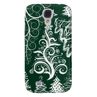 Festive Holiday Green Christmas Trees Xmas Samsung Galaxy S4 Cover