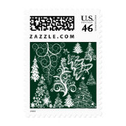 Festive Holiday Green Christmas Trees Xmas Stamp
