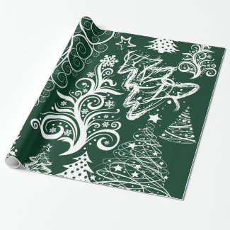 Festive Holiday Green Christmas Trees Xmas Gift Wrapping Paper