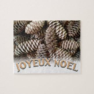Festive Holiday Joyeux Noel Pine Cone Jigsaw Puzzle