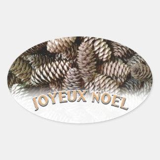 Festive Holiday Joyeux Noel Pine Cone Oval Sticker