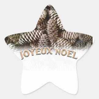 Festive Holiday Joyeux Noel Pine Cone Star Sticker