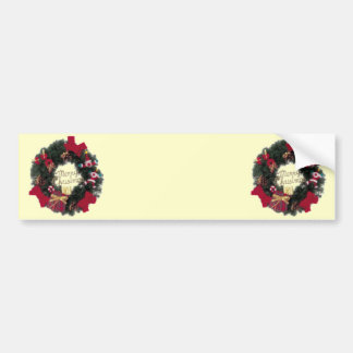 Festive Holiday Merry Christmas Wreath Bumper Stickers
