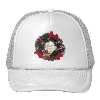 Festive Holiday Merry Christmas Wreath Trucker Hat