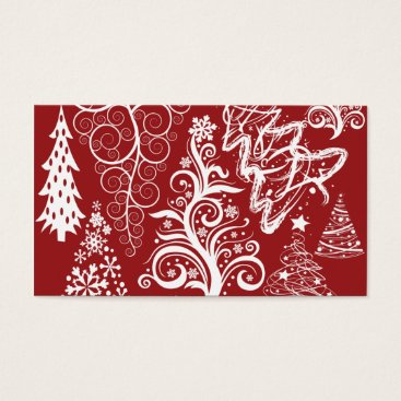 Christmas Themed Festive Holiday Red Christmas Tree Xmas Pattern Business Card