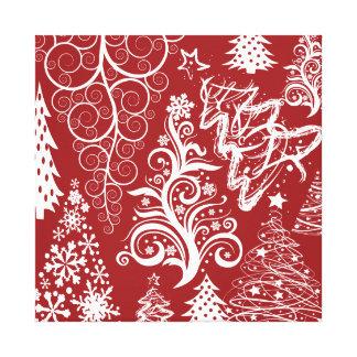 Festive Holiday Red Christmas Tree Xmas Pattern Canvas Print