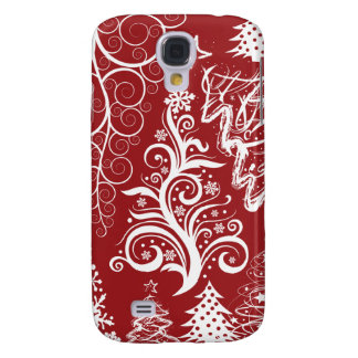 Festive Holiday Red Christmas Tree Xmas Pattern Galaxy S4 Cover